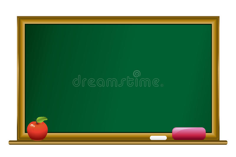 Tableau noir avec la craie et la pomme illustration stock