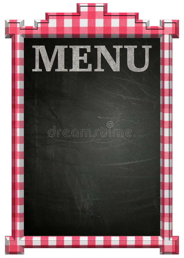 Tableau noir avec le cadre et le titre rouges et blancs de menu illustration de vecteur