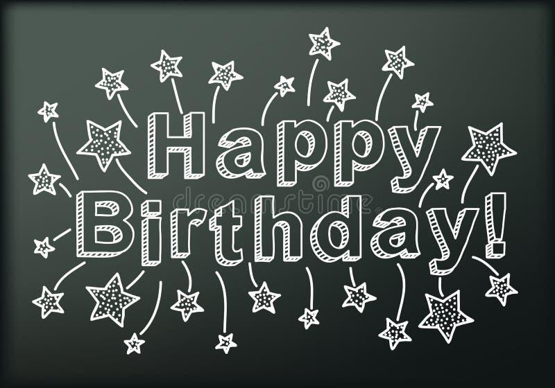 Tableau noir avec le joyeux anniversaire illustration de vecteur