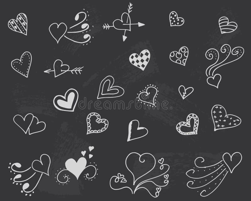 Tableau noir avec le vecteur de coeurs illustration de vecteur