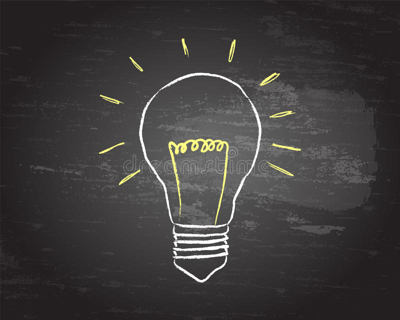 Tableau noir d'ampoule illustration libre de droits