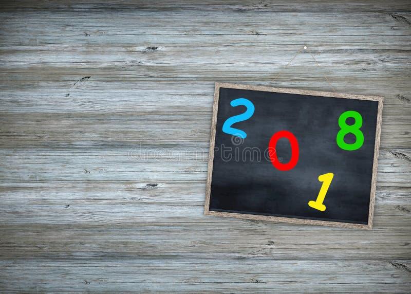 Tableau noir 2018 de concept d'éducation d'année avec le fond de cadre en bois tableau antique pendant la bonne année des textes photos stock