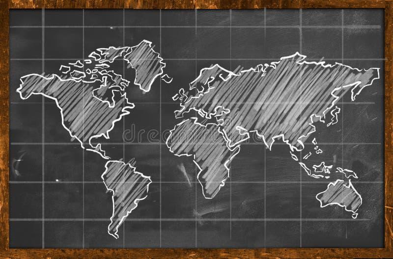 Tableau noir de dessin de craie de carte du monde illustration libre de droits