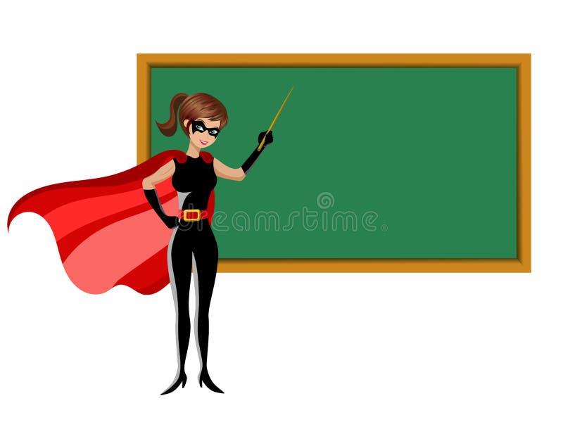 Tableau noir de enseignement de bâton de femme de super héros d'isolement illustration de vecteur
