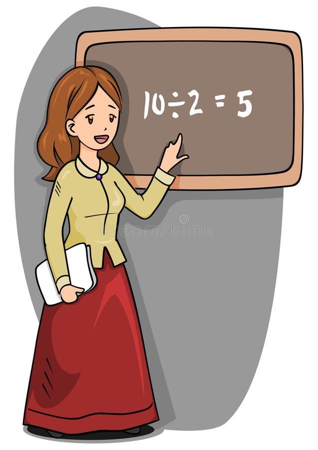 Tableau noir de femme de professeur illustration de vecteur