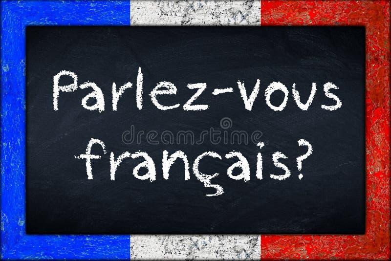 Tableau noir de francais de Parlez-vous avec le cadre de drapeau de franceh image libre de droits