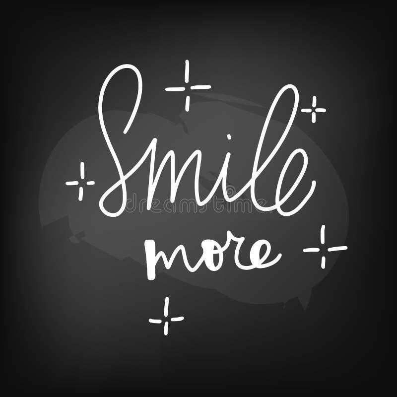 Tableau noir de tableau marquant avec des lettres le sourire davantage illustration de vecteur