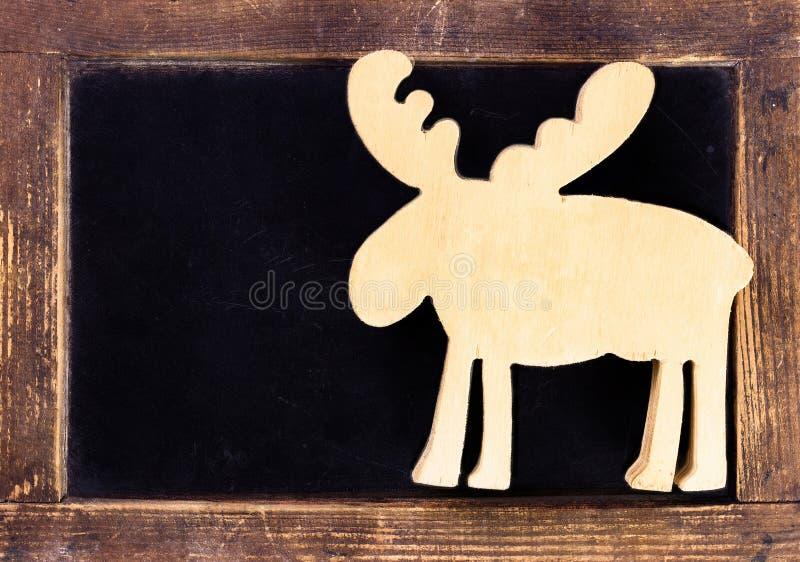 tableau noir de vintage avec le cadre en bois et les cerfs communs de no l c vide image stock. Black Bedroom Furniture Sets. Home Design Ideas