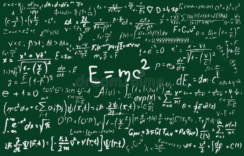 Tableau noir inscrit avec des formules et des calculs scientifiques dans la physique et les mathématiques Peut illustrer scientif illustration stock