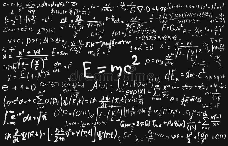 Tableau noir inscrit avec des formules et des calculs scientifiques dans la physique et les mathématiques illustration de vecteur