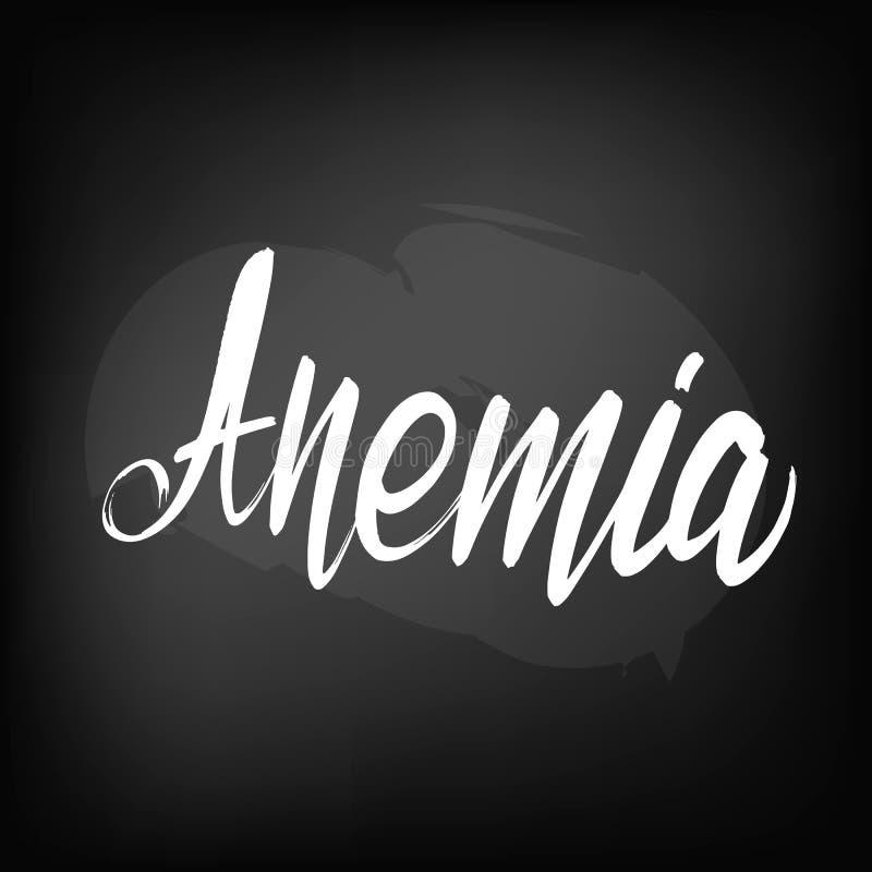 Tableau noir marquant avec des lettres l'anémie illustration stock