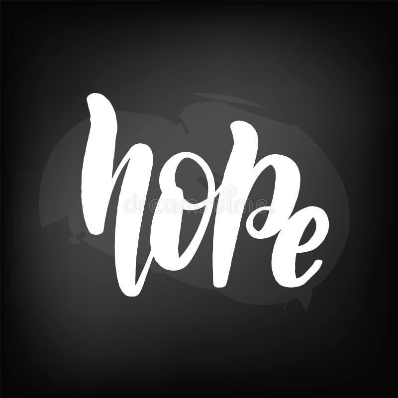 Tableau noir marquant avec des lettres l'espoir illustration stock