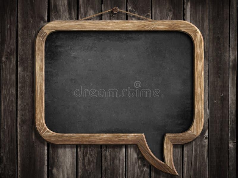 Tableau noir ou tableau de bulle de la parole accrochant sur le mur photos libres de droits