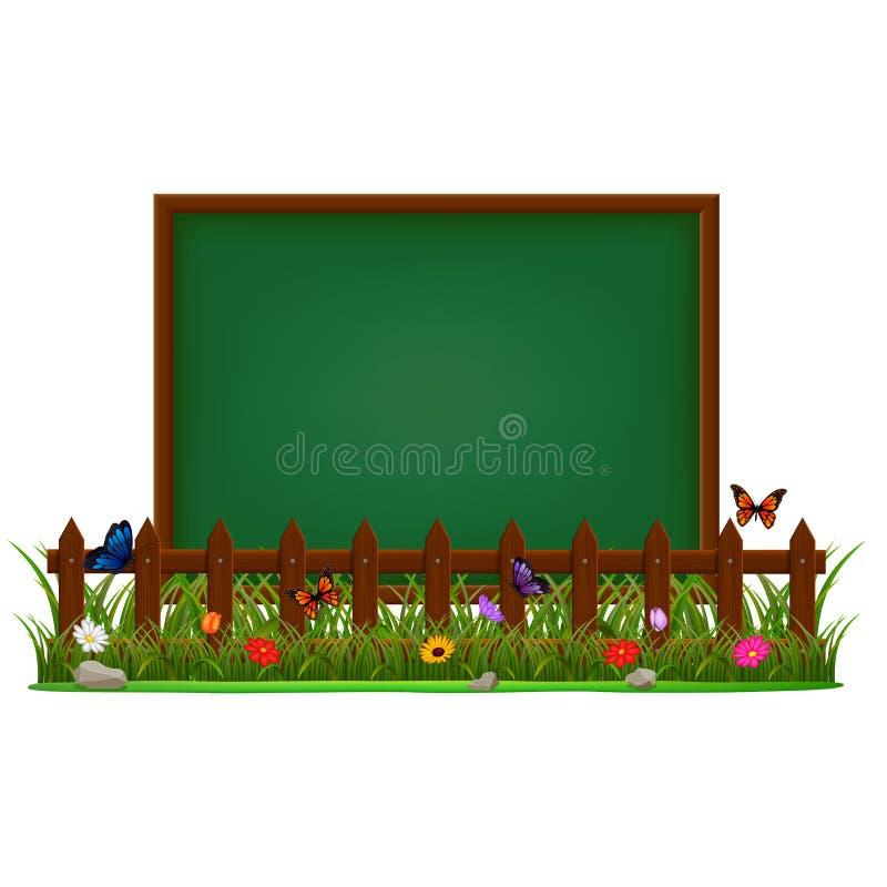 Tableau noir sur le jardin illustration libre de droits