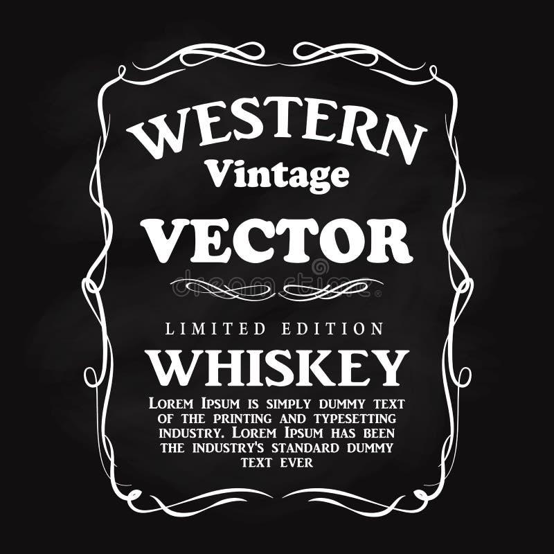 Tableau noir tiré par la main de label de conception de flourish occidental de cadre illustration de vecteur