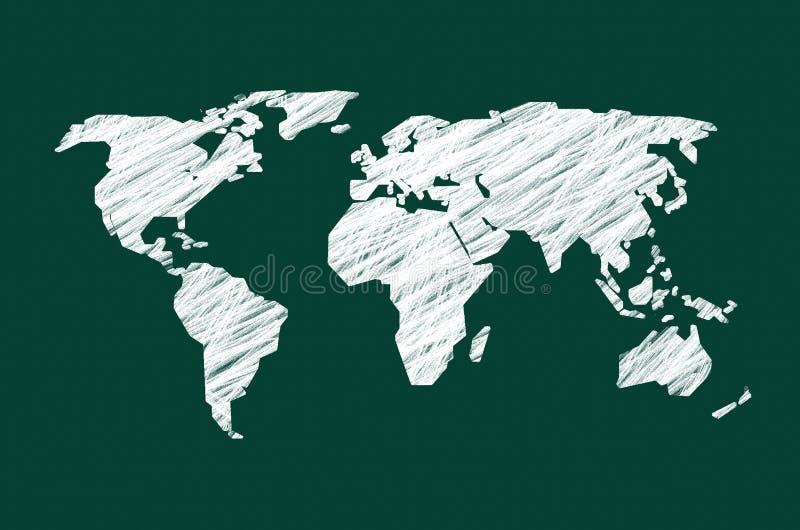 Tableau noir vert avec la carte du monde illustration de vecteur