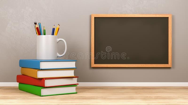 Tableau noir vide avec des approvisionnements de papeterie illustration de vecteur