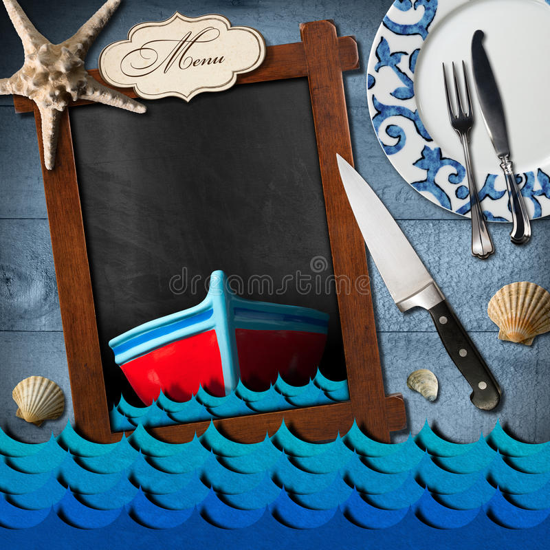 Tableau noir vide pour le menu de fruits de mer illustration stock