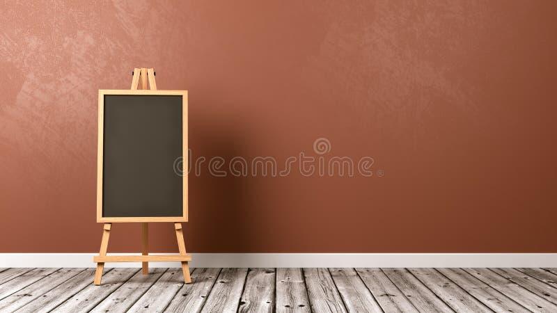 Tableau noir vide sur le plancher en bois illustration libre de droits
