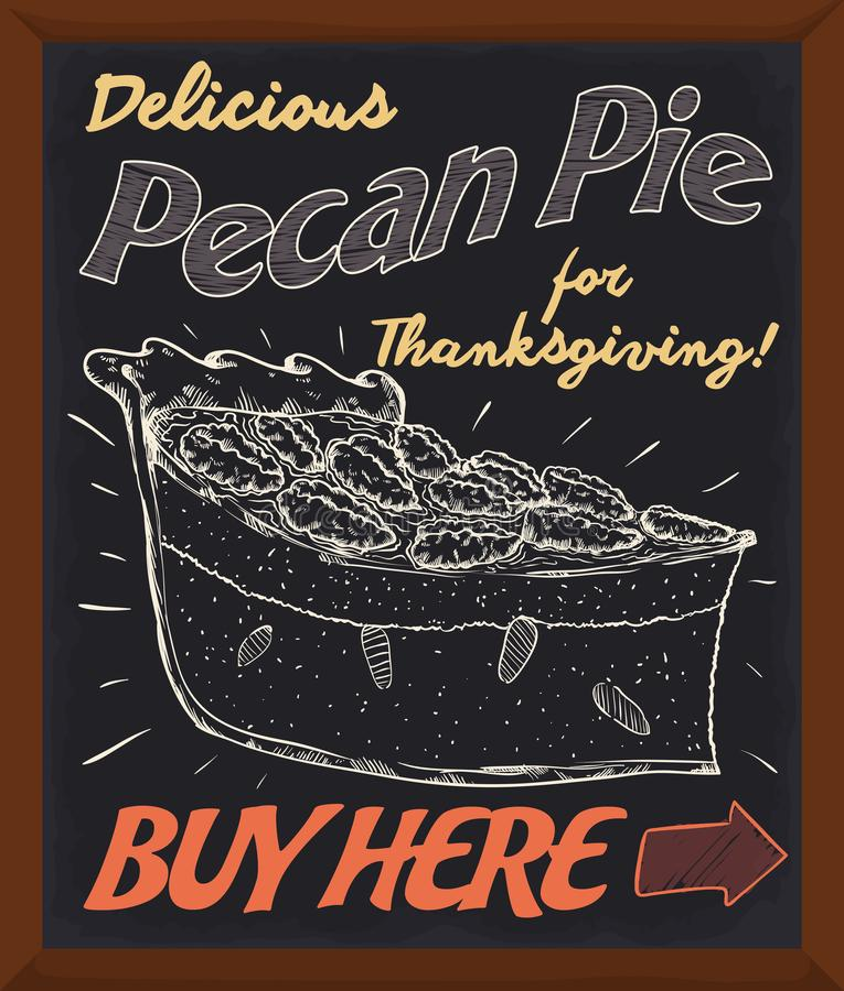 Tableau promotionnel favorisant la tarte aux noix de pécan fraîche délicieuse pour le jour de thanksgiving, illustration de vecte illustration de vecteur