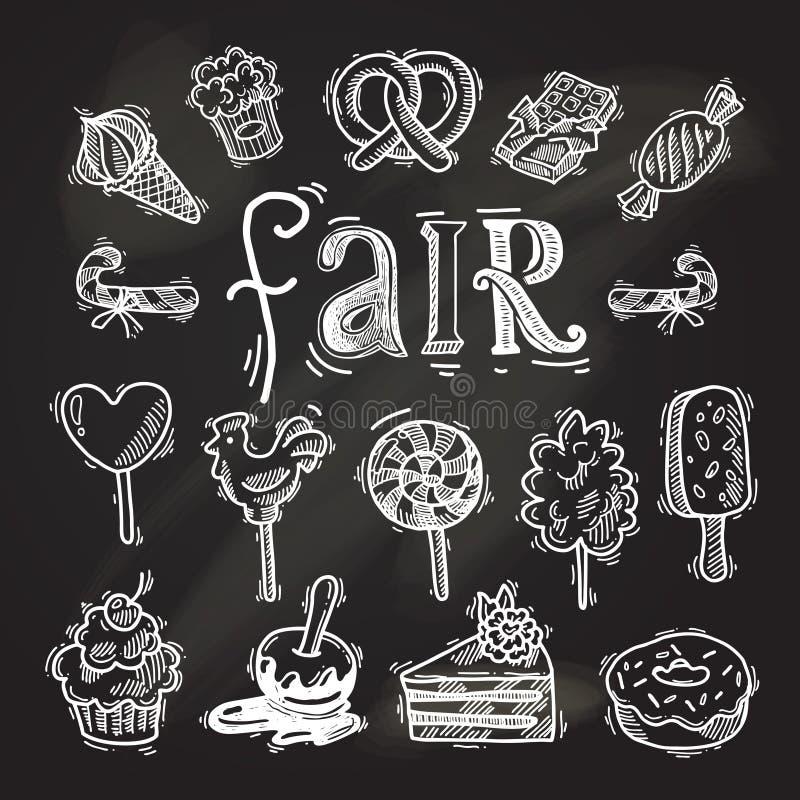 Tableau réglé d'icône de croquis de bonbons illustration stock