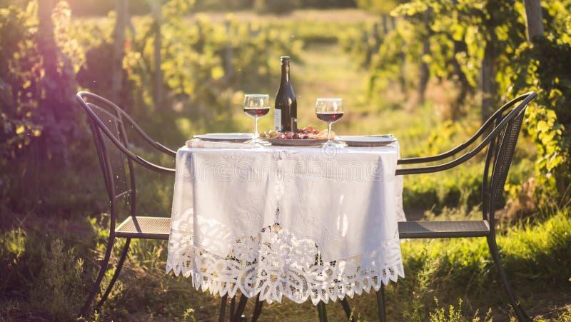 Tableau servi avec les apéritifs et le vin rouge pour un dîner romantique dans le jardin photos stock