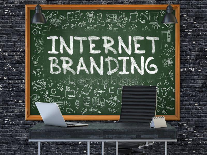Tableau sur le mur de bureau avec le concept de marquage à chaud d'Internet illustration 3D illustration libre de droits