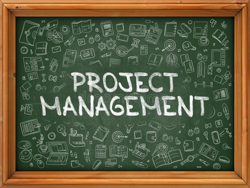 Tableau vert avec la gestion des projets tirée par la main illustration de vecteur