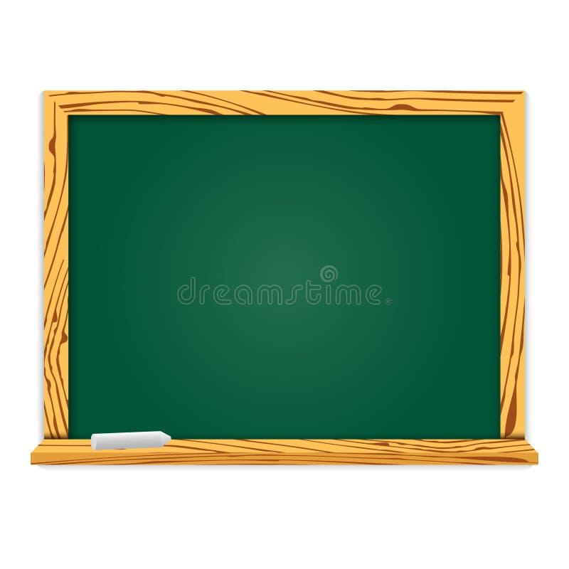Tableau vert réaliste dans le cadre en bois Conception d'école ou de restaurant, menu Illustration de vecteur avec l'ombre d'isol illustration stock