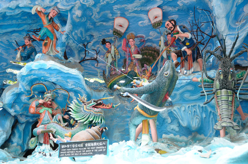Tableaux of the chinese eight immortals at Haw Par Villa theme park in Singapore. A photo taken on the tableaux of the chinese eight immortals at Haw Par Villa royalty free stock images