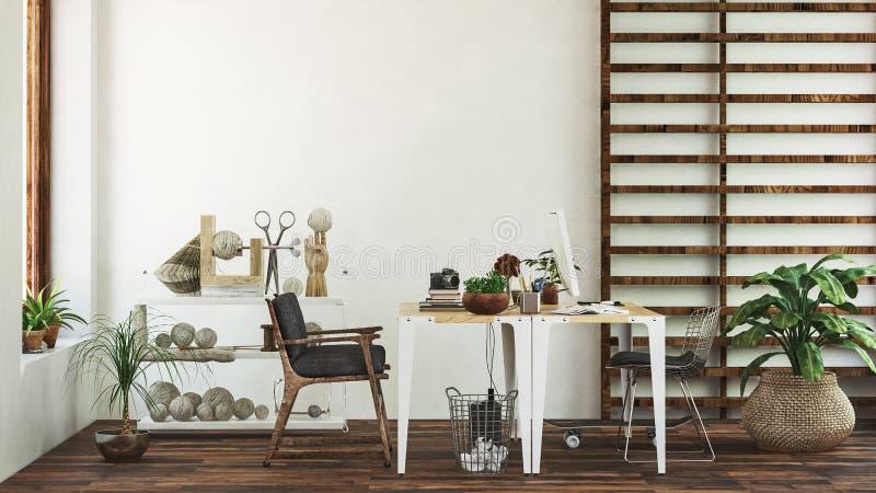 Tableaux et chaises devant le mur blanc illustration libre de droits