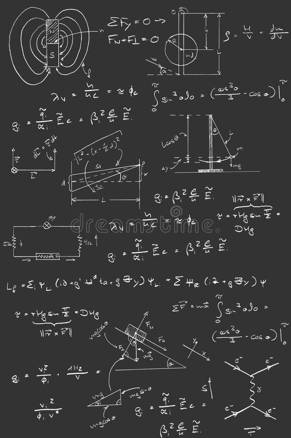 Tableaux et formules de physique illustration libre de droits