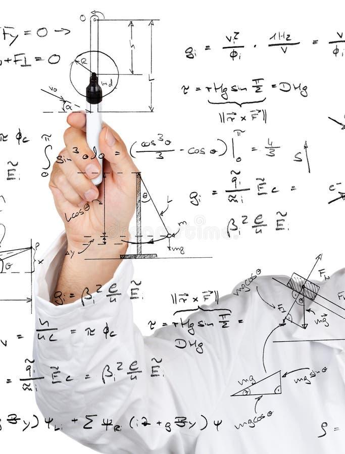Tableaux et formules de physique photographie stock