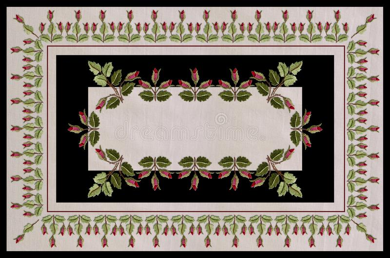 Tablecloth in beige and black frames,with border of embroidered garlands of twigs with rosebuds and leaves. Pattern for tablecloth in beige and black frames,with royalty free illustration