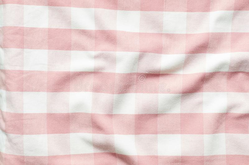 Tablecloth checkered red and white texture background, Napkin in red and white cage.  stock photography