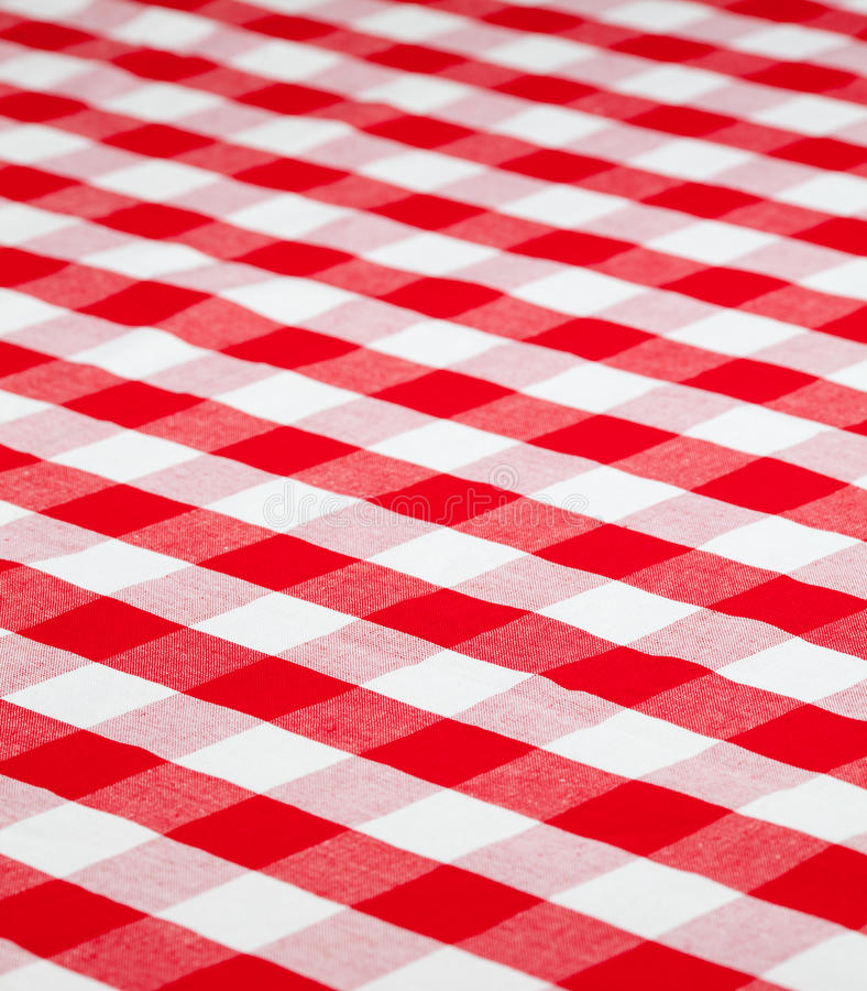 Tablecloth checkered vermelho da tela do guingão fotos de stock