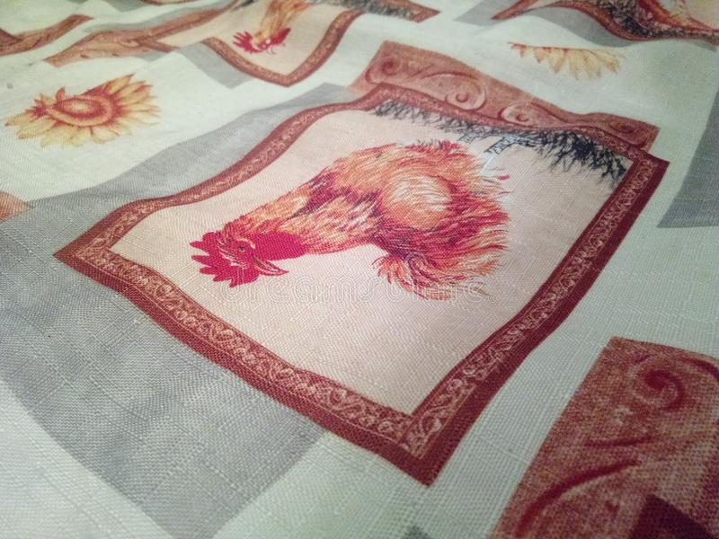 Tablecloth, chicken stock photo
