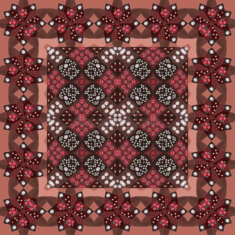 tablecloth Härlig modell med blommor i röda och bruna signaler vektor illustrationer