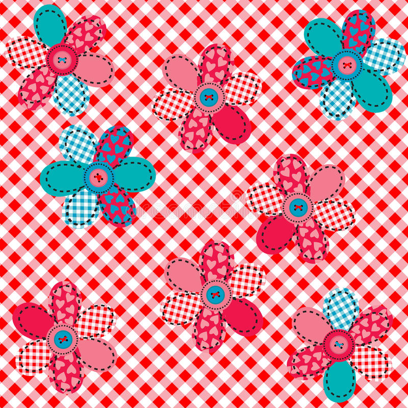Tablecloth with patches and buttons vector illustration