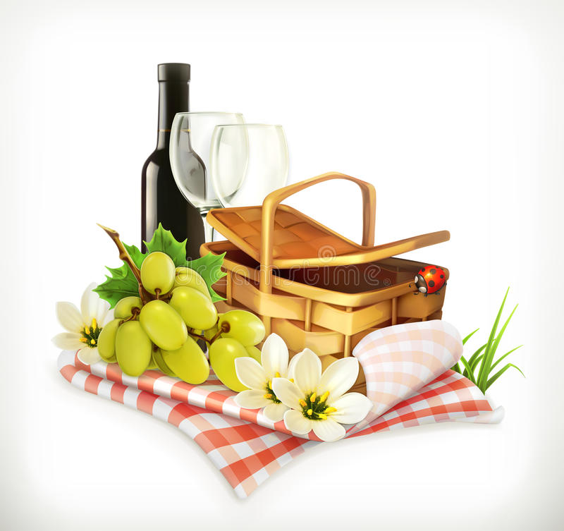 Tablecloth and picnic basket, wine glasses and grapes, vector illustration showin. Time for a picnic, nature, outdoor recreation, a tablecloth and picnic basket vector illustration