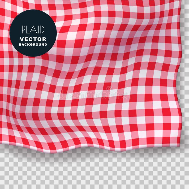 Tablecloth or plaid realistic vector illustration. Red gingham textile blanket on isolated transparent background stock illustration