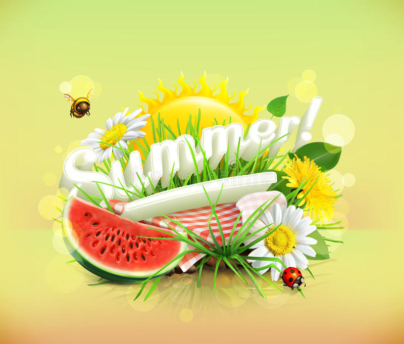 Tablecloth and sun behind, grass, flowers of chamomile and da royalty free illustration