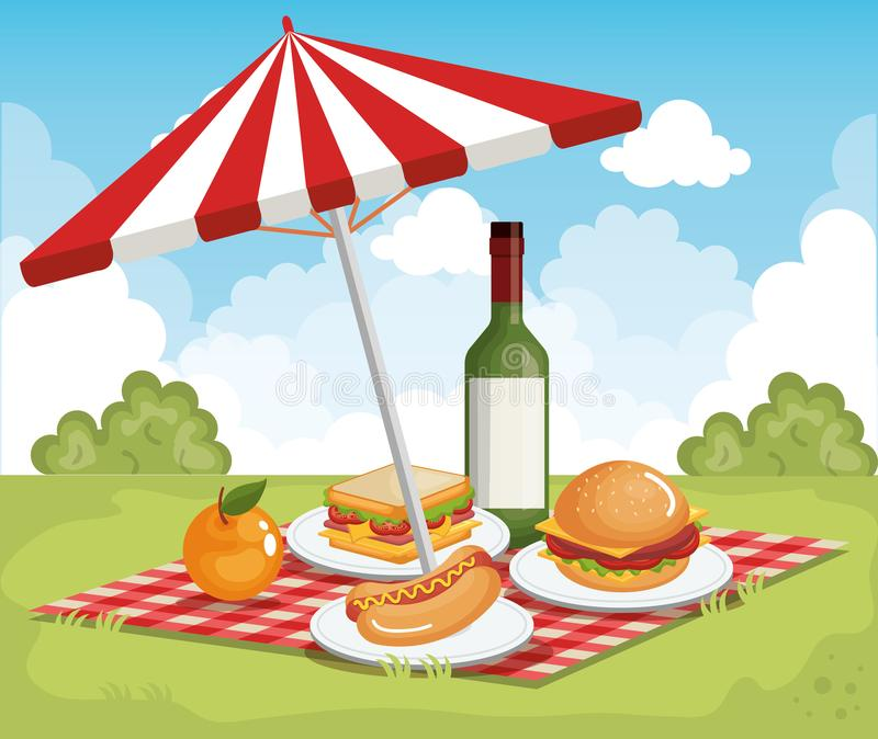 Tableclothes-Picknick mit Regenschirm- und Lebensmittelszene vektor abbildung
