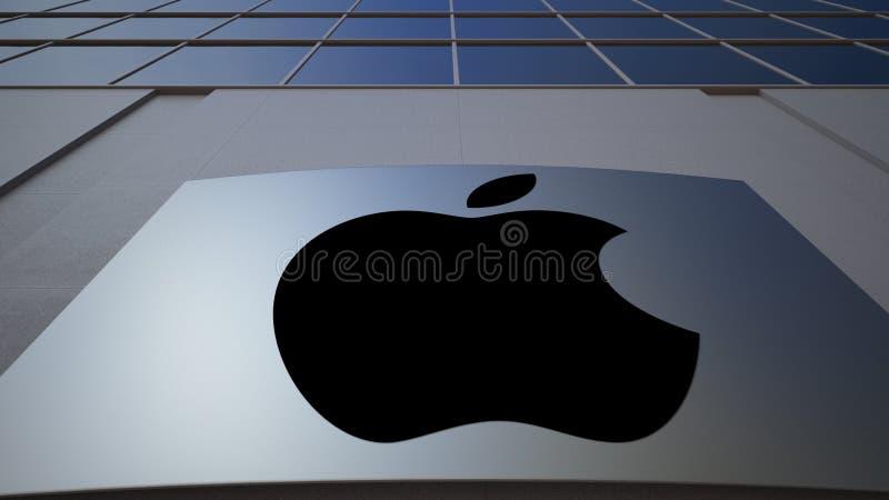 Tablero al aire libre de la señalización con Apple Inc LOGOTIPO Edificio de oficinas moderno Representación editorial 3D fotos de archivo libres de regalías
