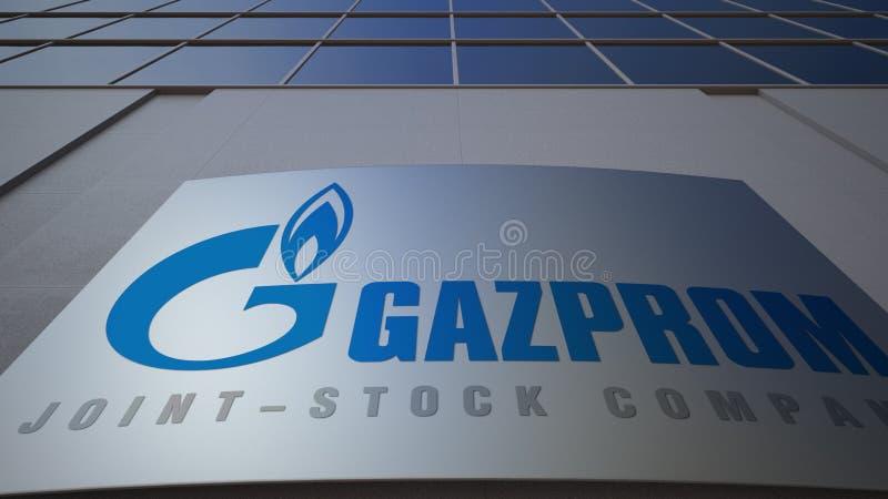 Tablero al aire libre de la señalización con el logotipo de Gazprom Edificio de oficinas moderno Representación editorial 3D imagen de archivo