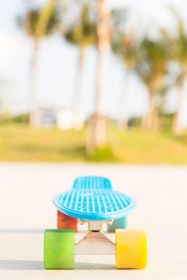 Tablero azul claro del penique del longboard con las ruedas multicoloras listas fotografía de archivo