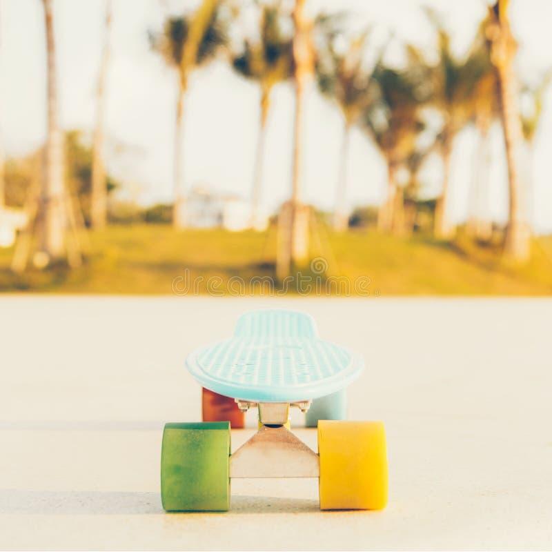 Tablero azul claro del penique del longboard con las ruedas multicoloras listas imágenes de archivo libres de regalías