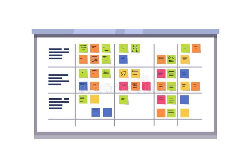 Tablero blanco del melé por completo de tareas en tarjetas pegajosas ilustración del vector