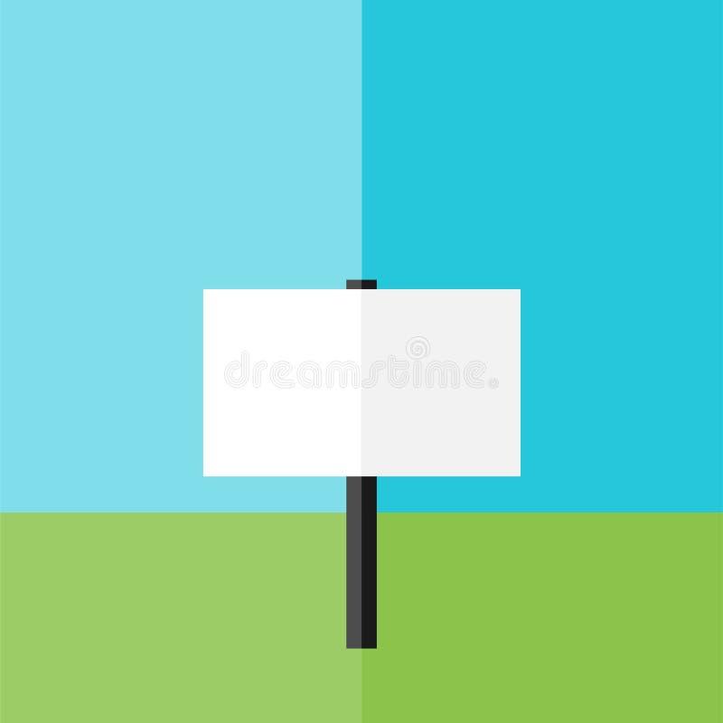 Tablero blanco para el anuncio en hierba verde ilustración del vector