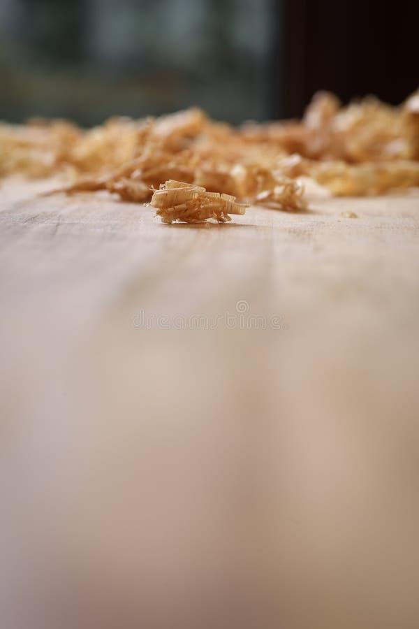 Tablero Chip Shavings de la madera dura de Sapele del rebajador de radios imagen de archivo libre de regalías
